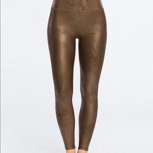 Spanx Faux Leather Bronze Leggings